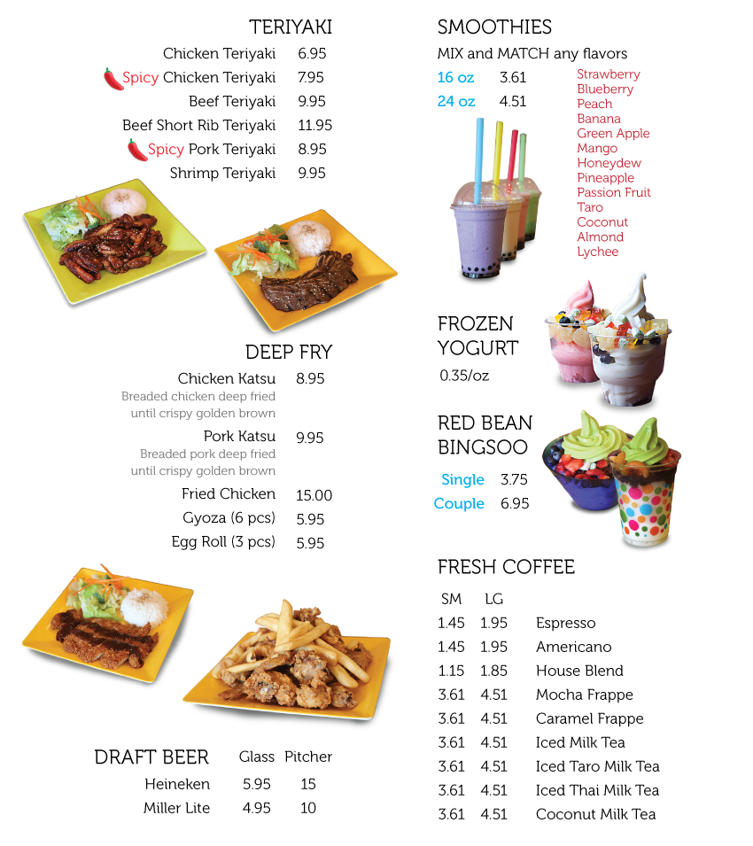 Frozen Cafe Menu